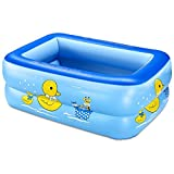 Children's Inflatable Pool Baby Bathtub PVC Home Kids Square Swimming Bucket Plastic Blue 1209035CM