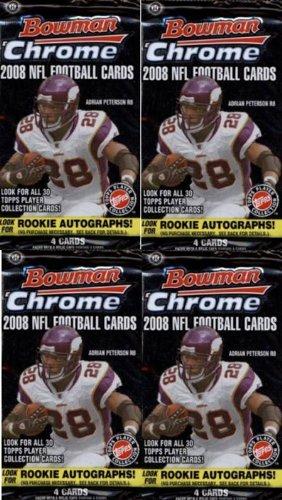 (4 (Four) Packs - 2008 Bowman Chrome Football Hobby Packs (4 Cards perPack) - Possible Matt Ryan, Matt Forte, Chris Johnson, Joe Flacco, DeSean Jackson, Darren McFadden, and/or Felix Jones Rookie Cards!!!! )