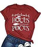 NANYUAYA It's Just a Bunch of Hocus Pocus Shirt Women Funny Halloween Letter Graphic Print T Shirt