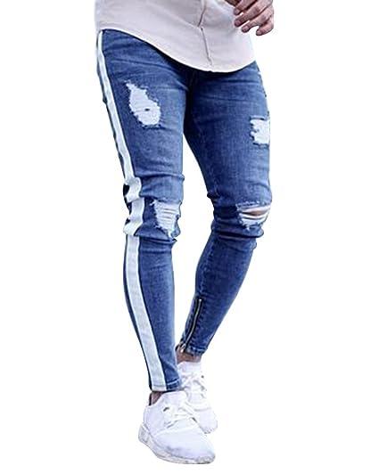 Jeans Strappati Uomo Slim Fit Pantaloni da Moto con Cerniera