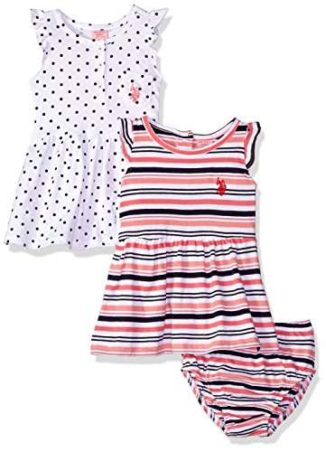 (U.S. Polo Assn. Baby Girls Multi, Dress Pack Stripes dots Ruffle Sleeves White, 18M)
