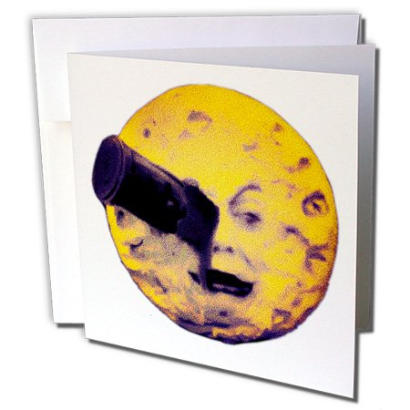 [Scenes from the Past Ephemera - A Trip to the Moon Happy Halloween Edition Vintage Sci Fi - 1 Greeting Card with envelope] (Sci Fi Halloween)