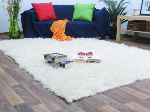 Flokati Teppich Qualität 1000 natur Kult Shaggy Teppich Hochflor Langflor 100% Schurwolle, Größe: 120x180 cm