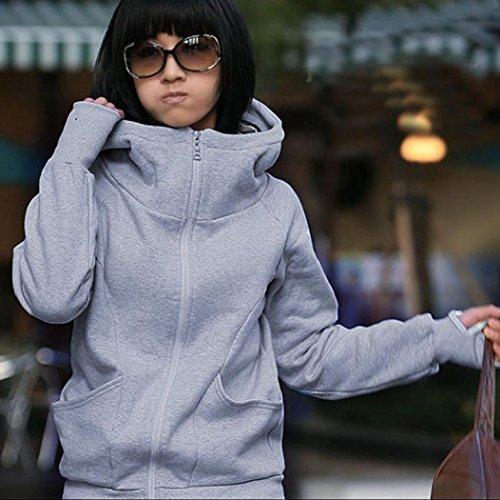 Koly Sudadera con capucha capa de señora encajonar dedo manga larga chaqueta suéter Gris