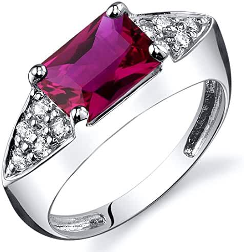 Created Ruby Ring Sterling Silver Rhodium Nickel Finish Radiant Cut 2.00 Carats Sizes 5 to 9