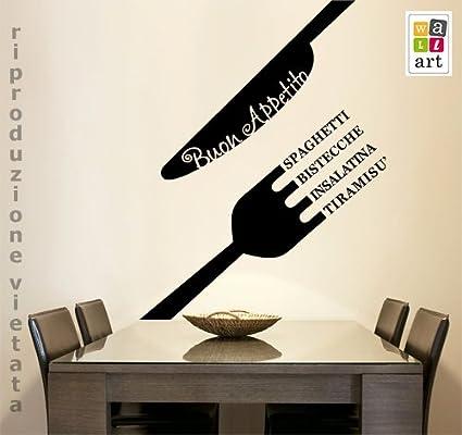 00729 Adesivi murali \'\'Menu Buon Appetito\'\' - Stickers Adesivi - 77x100 cm  - Nero - Decorazione Parete, Adesivi per Muro, Carta da Parati