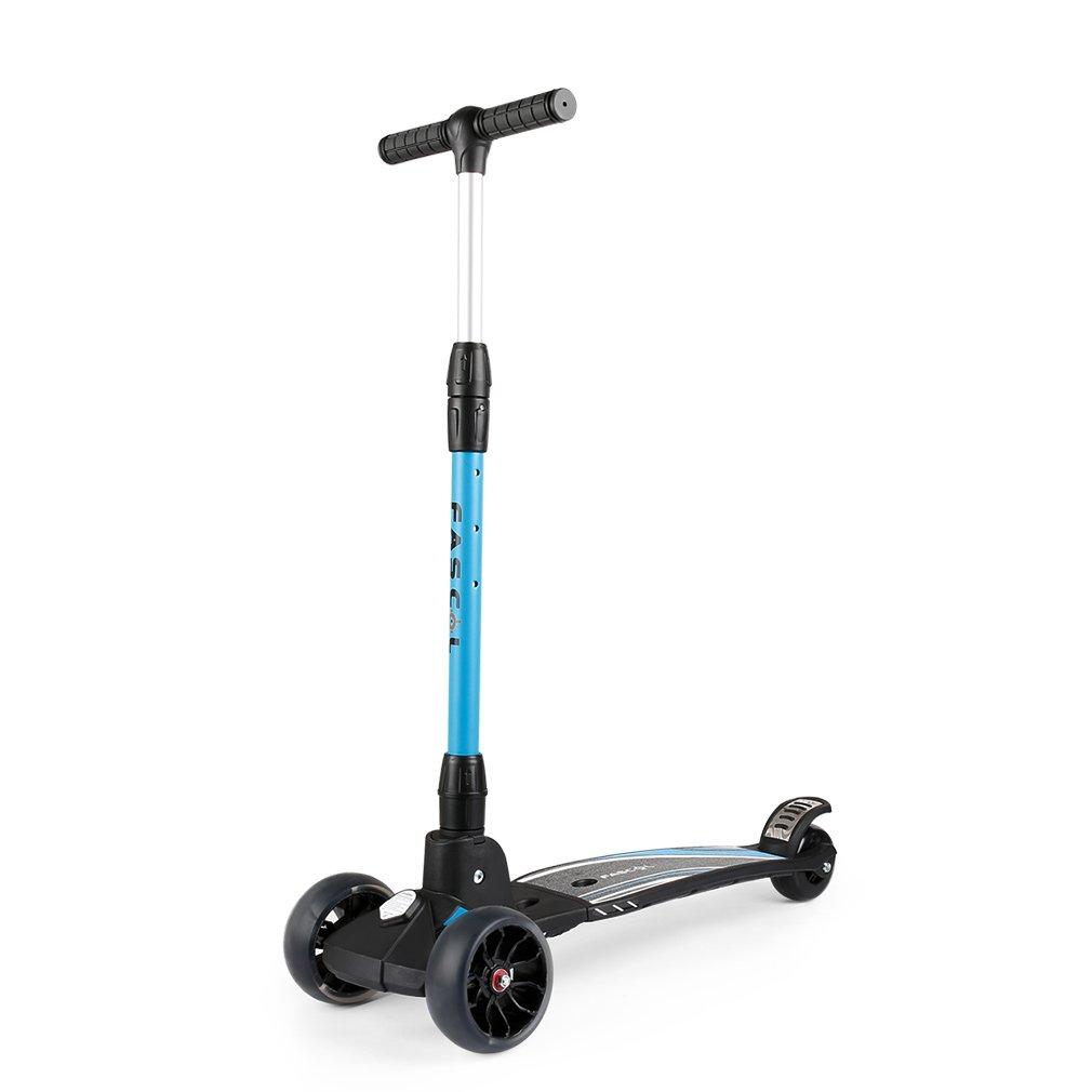 Fascol Kinderroller Klappbar Kinderscooter ab 7 - 15 Jahre Tretroller mit 3 LED Räder Belastbarkeit bis 75 kg, Blau