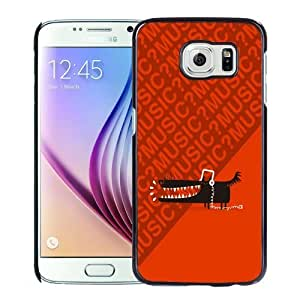 Fashionable Custom Designed Samsung Galaxy S6 Phone Case With Wolf With Headphones Music_Black Phone Case