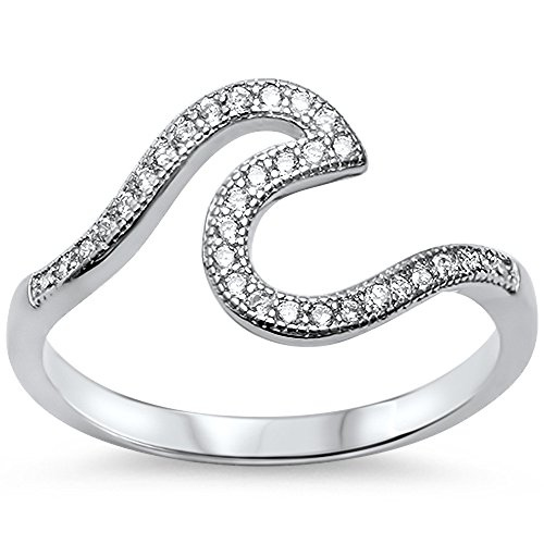 Oxford Diamond Co Wave Design .925 Sterling Silver Ring Sizes 2-12 Choose Your Color (Sterling-Silver-with-White-Cubic Zirconia, 9)