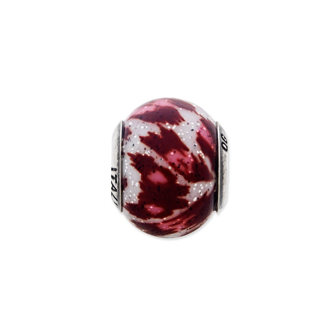 ICE CARATS 925 Sterling Silver Charm For Bracelet Italian Pink Brown Glitter Glass Bead Overlay Designed Glas Fine Jewelry Ideal Gifts For Women Gift Set From Heart by ICE CARATS (Image #4)