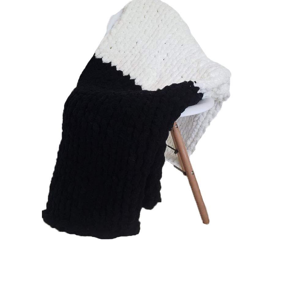 Giant Knit Chenille Blanket Throw Hand Knit Fluffy Blanket Black&CreamWhite Hand Knitted Blanket for Family Xmas Gift