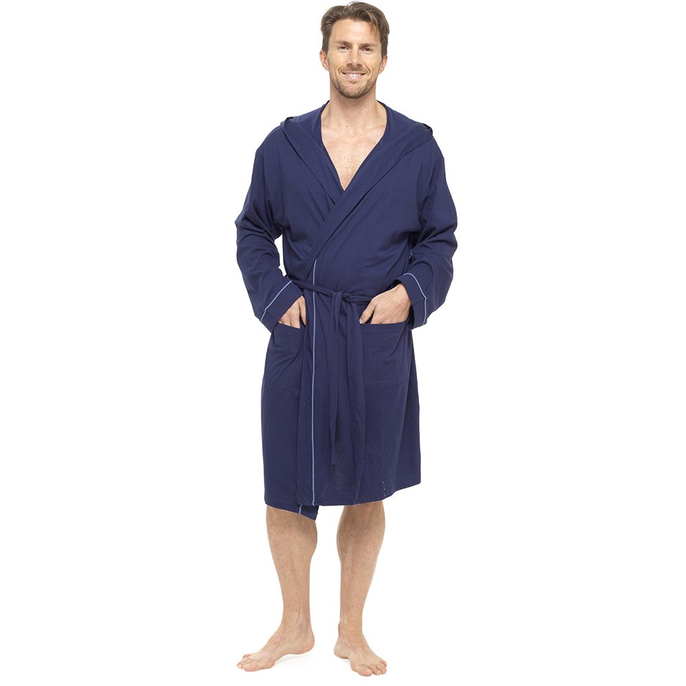 Foxbury Mens Hooded Dressing Gown Bath Robe Wrap Soft 100% Cotton Jersey Summer Lightweight Kimono HT321A