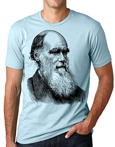 Think Out Loud Apparel Charles Darwin Portrait T-Shirt Atheist Tee Evolution Light Blue Large