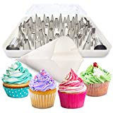 BakeLux Cake Decorating Tips Set - 56 Piece Professional Kit With Reusable Cotton Pastry Bag For Icing Piping, 2 Flower Nails, Coupler, Storage Box, Duyas Reposteria, Baking Tools Supplies
