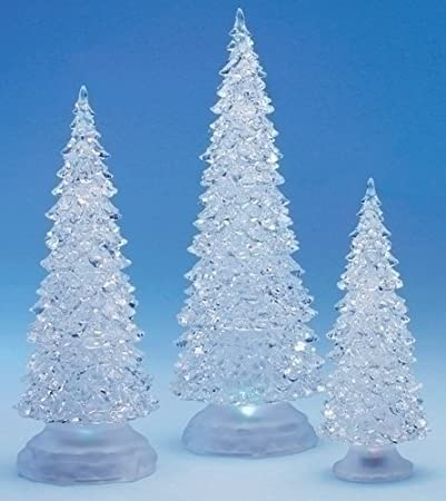 3-Piece Icy Crystal Battery Operated Lighted LED Color Changing Christmas Trees