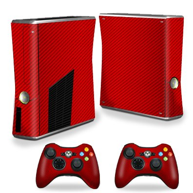 MightySkins Skin For X-Box 360 Xbox 360 S console - Red Carbon Fiber | Protective, Durable, and Unique Vinyl Decal wrap cover | Easy To Apply, Remove, and Change Styles - Console Red 360 Xbox