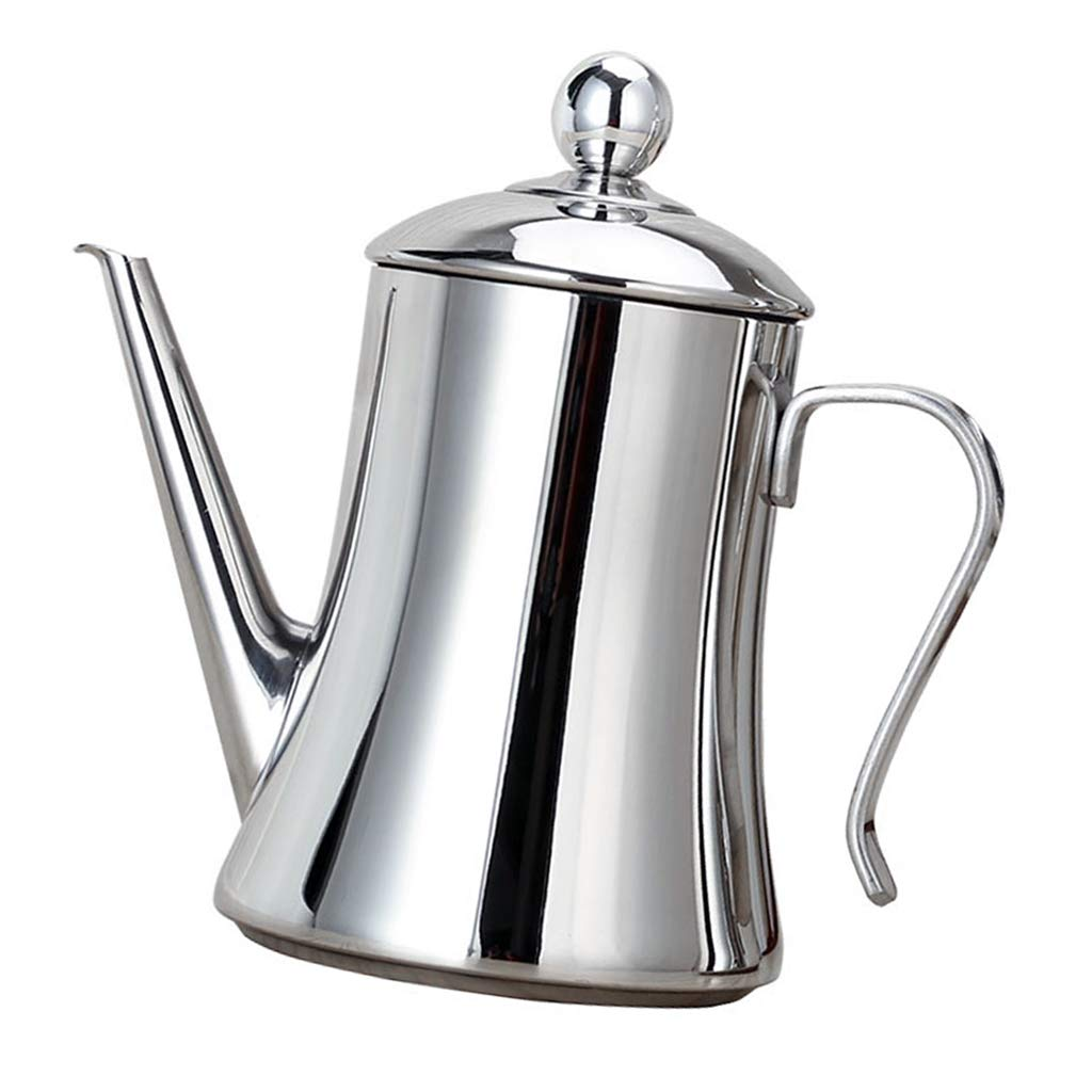 D DOLITY Pour Over Drip Kettle Pot with Spout for Oil Vinegar Sauce Kitchen Stainless Steel 1L