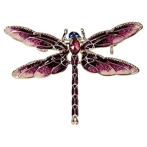 Enamel Dragonfly Pin - EVER FAITH Women's Austrian Crystal Purple Enamel Cute Animal Dragonfly Brooch Gold-Tone