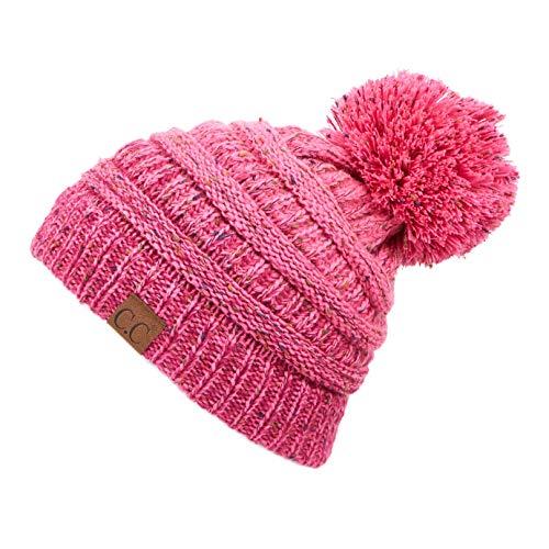 C.C Unisex Ribbed Confetti Knit Ombre Pom Beanie Hat for Women Men (YJ-817-POM) (Bubble Gum Pink Pom)