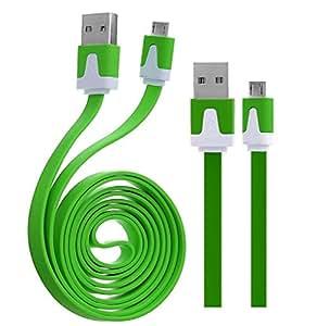 Wayzon verde plano de alta velocidad de sincronización y carga micro USB cable de datos cargador plomo apto para Prestigio MultiPhone 8500DUO/8400/7500/5501/5500/7600