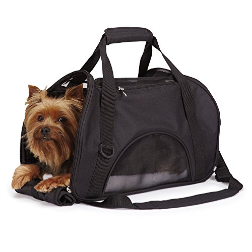 East Side Collection On-the-Go Pet Carriers — Practical and Fashionable Carriers for Small Dogs and Cats, Black (Side Carrier Pet East Collection)