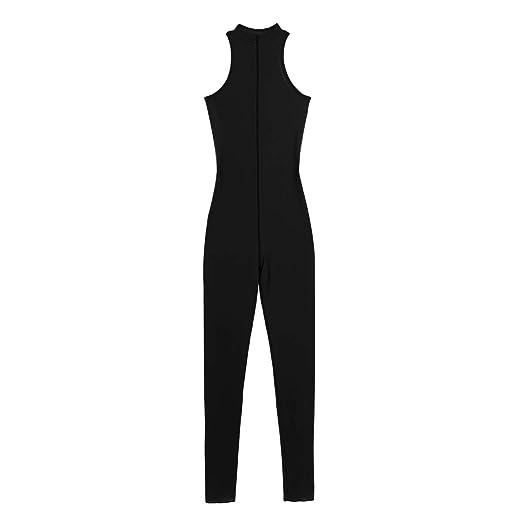 9fd7b212eb FEESHOW Women s Sexy Mesh Sheer Sleeveless Zipper Lingerie Bodystocking  Turtleneck Catsuit Bodysuit Black One Size
