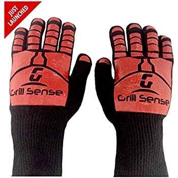 Grill Sense 932F Heat Resistant Cooking Gloves for Baking, Barbecue, Fire Pit, Oven, Grilling & Smoking- 1 Pair