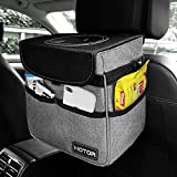 HOTOR Car Trash Can with Lid and Storage Pockets, 100% Leak-Proof Car Organizer, Waterproof Car Garbage Can, Multipurpose Trash Bin for Car - Gray