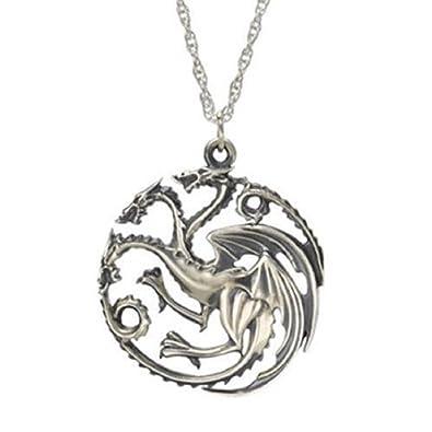 3 Headed Dragon Pendant Necklace Targaryen Sigil Silver Game of Thrones QgUKA99c