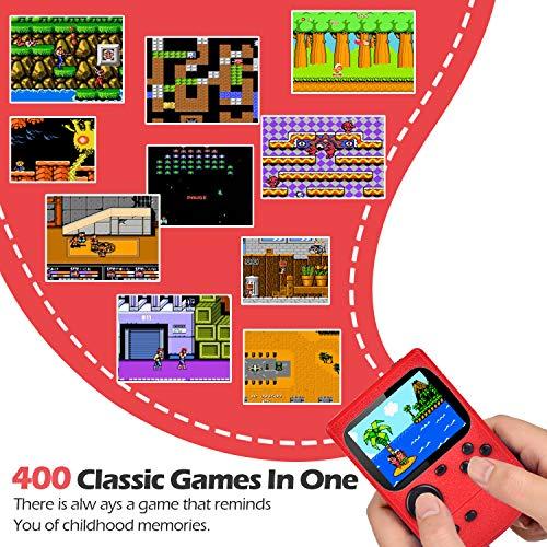 Kiztoys Console di Gioco Portatile, Gameboy Portatile con 400 Giochi Classici & Schermo a Colori da 2,8 Pollici per 2 Giocatori Supporto TV Console per Giochi Portatili Gioca 5 Ore+ per Bambini Adulti
