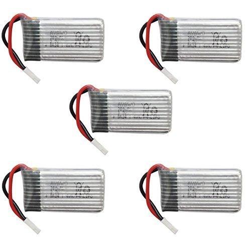 AVAWO for Hubsan Original 5pcs 3.7V 380mAh LiPO Battery for Hubsan X4 H107C H107D H107L RC QuadCopter