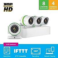 EZVIZ 3MP Surveillance Kit Premium Complete Surveillance System, White, 8 Channel + 4 Camera (BD-1834B1)