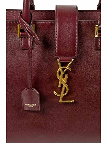 YSL Saint Laurent Medium Cabas Monogram Shoulder Bag in Burgundy ...