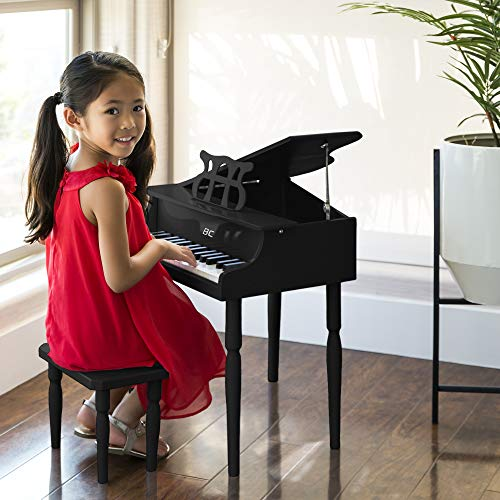 Best Choice Products Kids Classic Wooden 30 Key Miniature Mini Baby Grand Piano Toy w/Bench and Sheet Music Rack Rest Holder Stand - Black