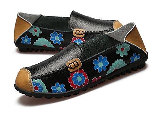 Ville Cuir Noir De Oriskey Bateau Chaussures Casual Mocassins Femme Loafers Flats EvxPxwR8q