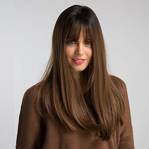 HAIRCUBE 20 Inch Nature Straight Ombre Wigs for White Women Black Root with Brown Hair Synthetic Wigs with Blunt Bang(12/35) -