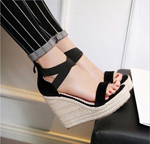 Talons Nouveau Chaussures Plateforme Sandales Ouvert Bout XIAOQI Nouveau Sexy À Sandales Femmes Noir Hauts Compensées Creux Été Sandales X40nqUBwg