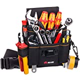 NoCry Heavy Duty Canvas Tool Pouch with 7 Roomy Pockets, 10 Tool Loops, Adjustable Waist Strap, and Sturdy Velcro Belt Flap. Black