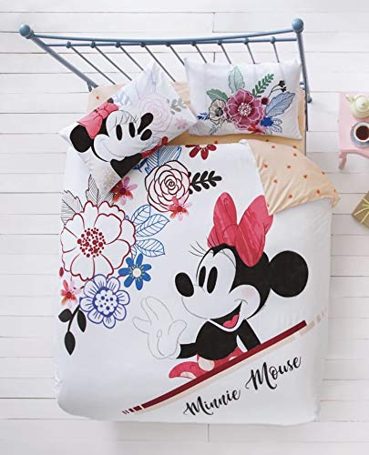 TAC Disney Minnie Mouse Watercolour%100 Cotton Bedding Set Licenced Product Quilt Cover Set Duvet Cover Pillow Case Fitted Sheet - Queen Size