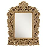 Chaumont French Country Carved Leaves Mango Wood Wall Mirror