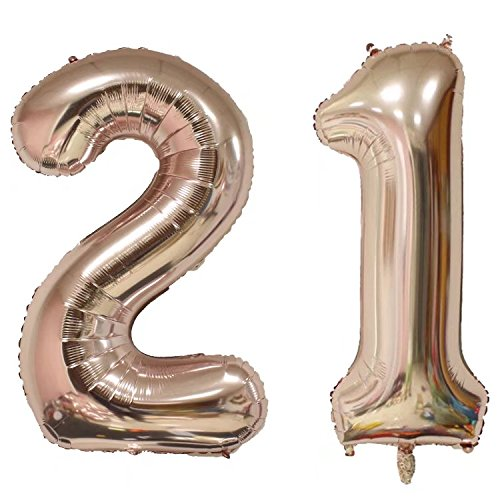 Changzhong 40 Inch Rose Gold Large Number Balloons Mylar Foil Big Number 21 Giant Balloon 21st Birthday Party Decoration -