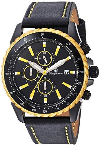 Burgmeister Men's Quartz Metal and Leather Casual Watch, Color:Black (Model: BMT02-692G)