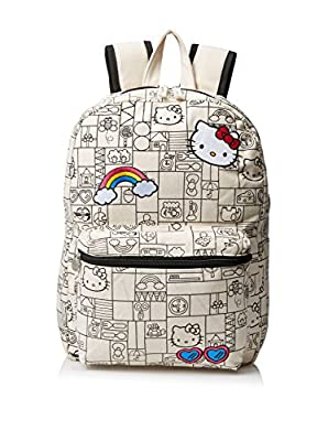 "Hello Kitty Girls Natural Canvas 16"" Backpack, Multi"