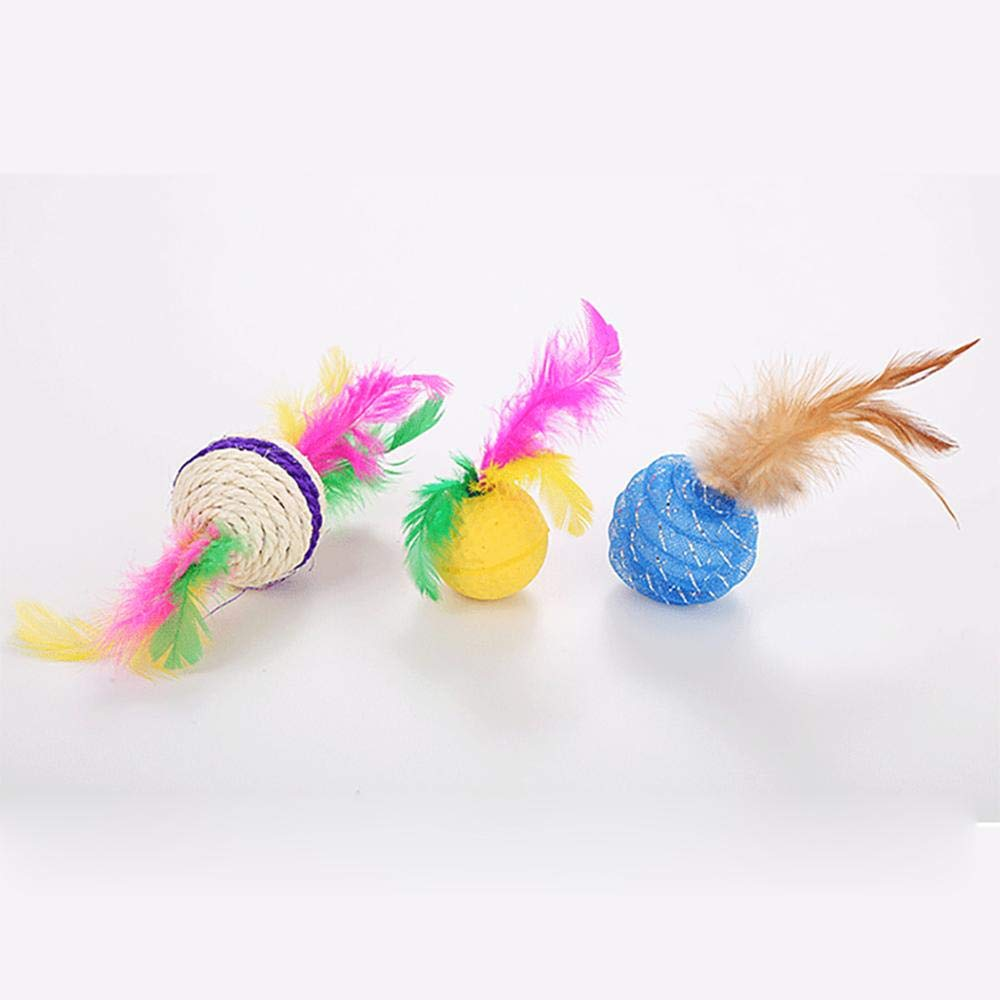 GFYT 20 Pcs Pet Toy for Indoor Cats Catnip and Dog Toys Diferretn Balls Pet Tunnel Colorful Feathers Wand Toys for Cats