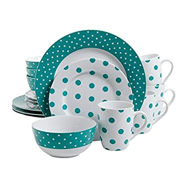 Isaac Mizrahi Dot Luxe 16-Piece Dinnerware Set, Teal