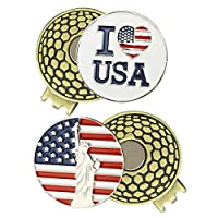 PINMEI 2 Sets of Golf Ball Markers with Magnetic Golf Hat Clip