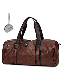 Micom Vintage Pu Leather Travel Tote Large Duffle Bags for Men,boys (Brown)