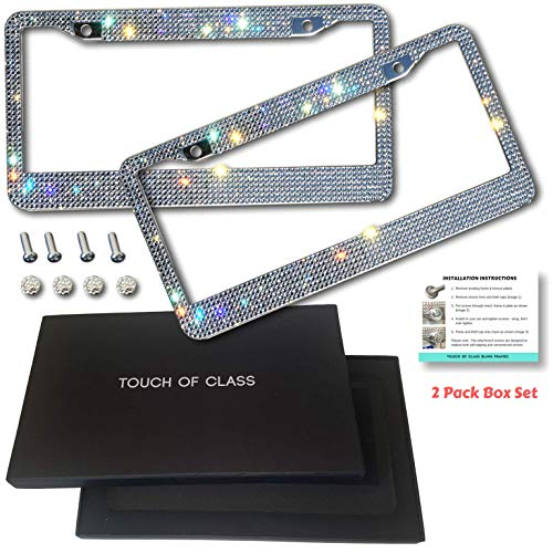 Everything Rhinestone - Touch of Class Bling Premium License Plate Frames - Diamond Cut Rhinestone Sparkly Crystal Handmade on Stainless Steel | 2 Pack Gift Set Men & Women | Easy Mount
