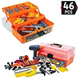 kids toolbox set - Liberty Imports 46-Pieces Deluxe Kids Handyman Pretend Play Toy Tool Box with Realistic Power Tools Set - Construction Workshop Toolbox STEM Toys