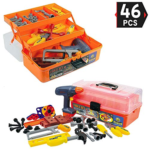 Liberty Imports 46-Pieces Deluxe Kids Handyman Pretend Play Toy Tool Box with Realistic Power Tools Set - Construction Workshop Toolbox STEM Toys ()